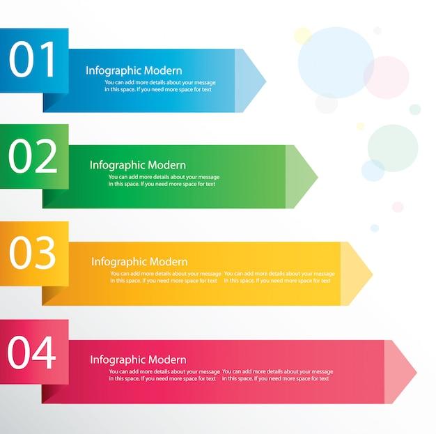 Modèle de concept infographie flèche avec 4 options