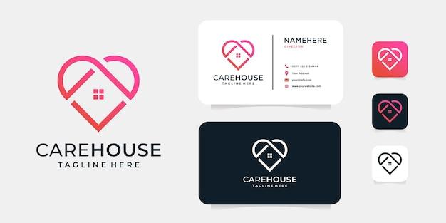 Modèle de concept de logo moderne de soins de la maison.
