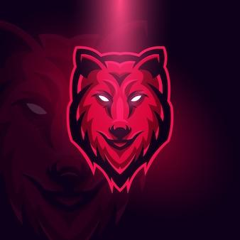 Modèle de concept de logo de red wolf esports