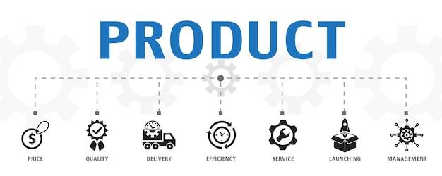 Modèle de concept de marché boursier. bannière horizontale. contient des icônes telles que courtier, finance, graphique, part de marché
