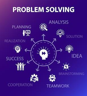 Modèle de concept de résolution de problèmes. style de conception moderne. contient des icônes telles que l'analyse, l'idée, le brainstorming, le travail d'équipe
