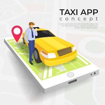 Modèle de concept de service d'application de taxi