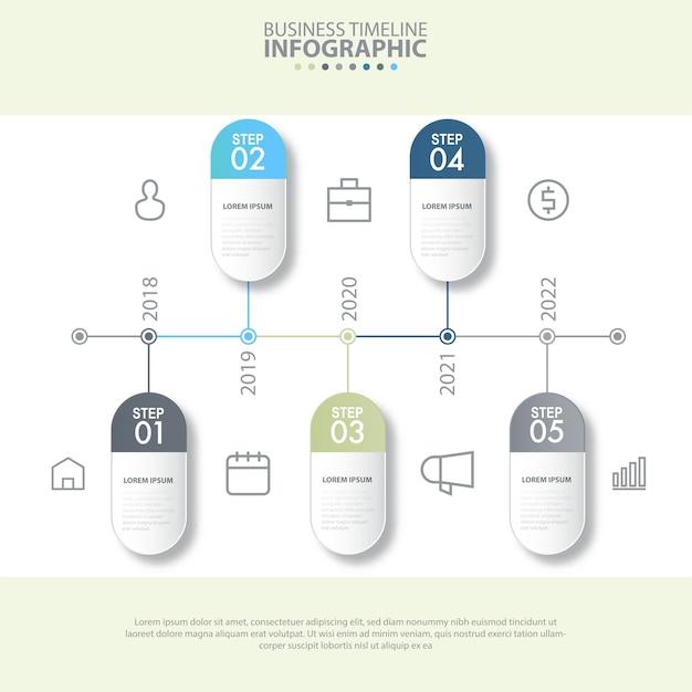 Modèle de conception de 5 étapes modernes et propres business infographics