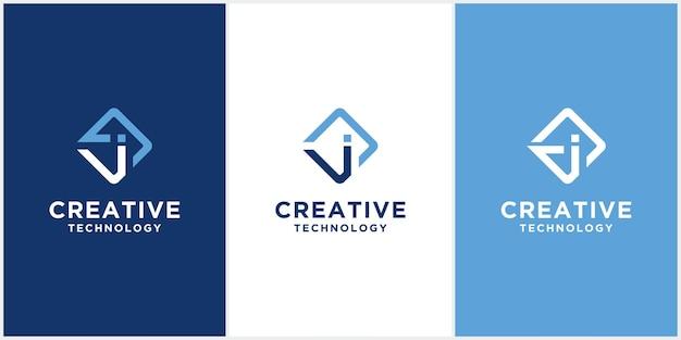Modèle de conception abstraite lettre j monogramme logo icône. modèle vectoriel minimaliste créatif basé sur les rayures de l'application j en couleur bleue fantaisie