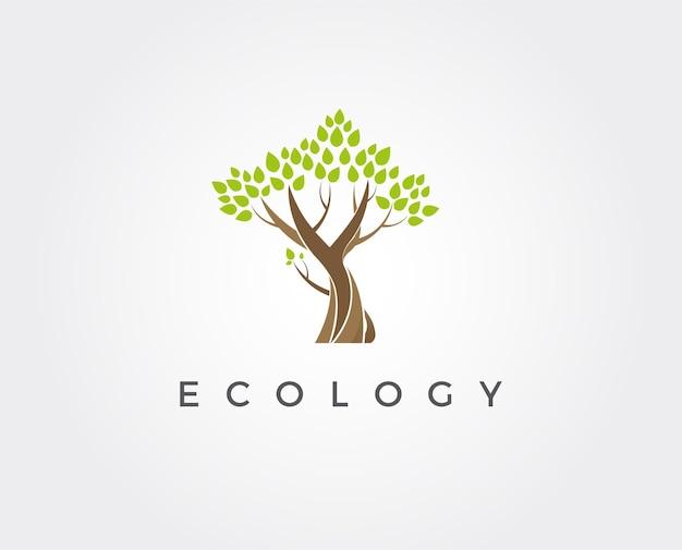 Modèle de conception abstraite de logo d'arbre style d'espace négatif eco green organic oak plant logotype icône concept