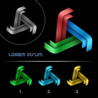Modèle de conception abstraite de logo triangle business, 3, logotype de l'infini en boucle hi tech,