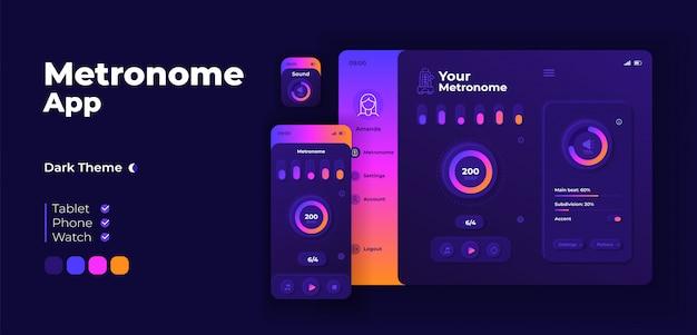 Modèle de conception adaptative d'écran d'application metronome. interface de mode nuit de l'instrument de soutien de rythme musical avec des personnages plats. battements par minute contrôle smartphone, tablette, interface utilisateur de dessin animé de montre intelligente.