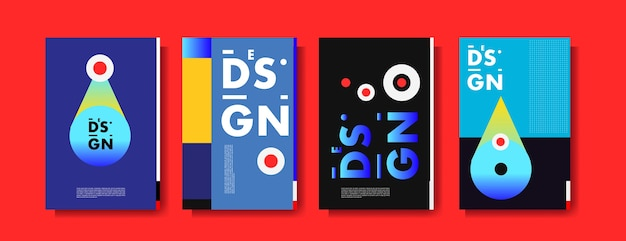Modèle de conception d'affiche abstraite collage coloré