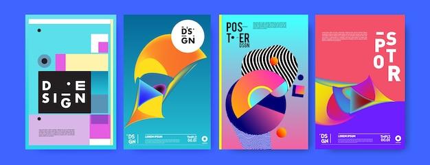 Modèle de conception d'affiche de collage géométrique coloré abstrait.