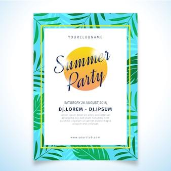 Modèle de conception d'affiche de fête d'été tropical