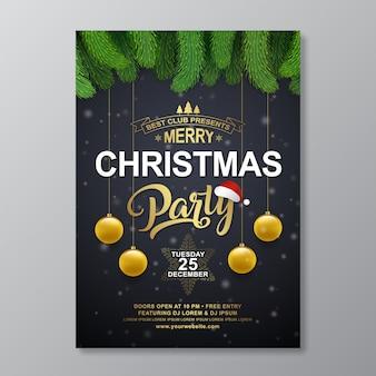 Modèle de conception d'affiche fête de noël