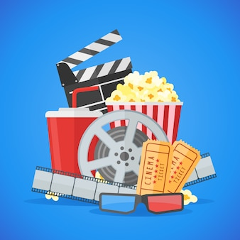 Modèle de conception d'affiche de film de cinéma. bobine et bande de film, billet, pop-corn, battant, plats à emporter, verres 3d.