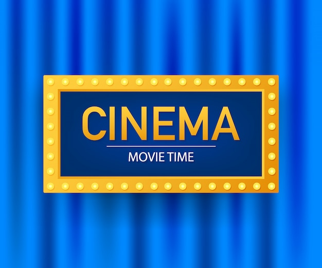 Modèle de conception d'affiche de film de cinéma. popcorn, pellicule, billets, planches à clin. illustration.