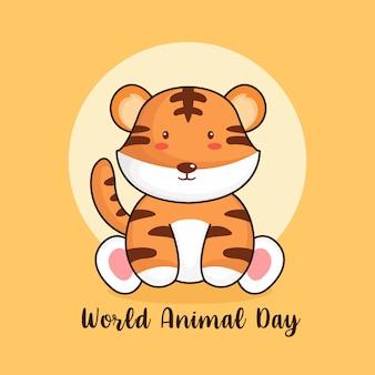 Modèle de conception d'affiche de la journée mondiale des animaux avec l'icône du tigre