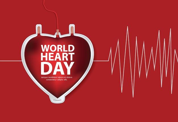 Modèle de conception de l'affiche de la journée mondiale du coeur illustration vectorielle
