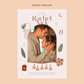 Modèle de conception d'affiche de mariage