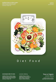 Modèle de conception d'affiche pour la salade de légumes aliments biologiques