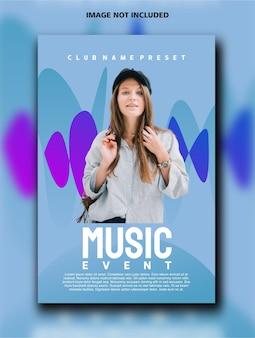 Modèle de conception d'affiche verticale d'événement musical