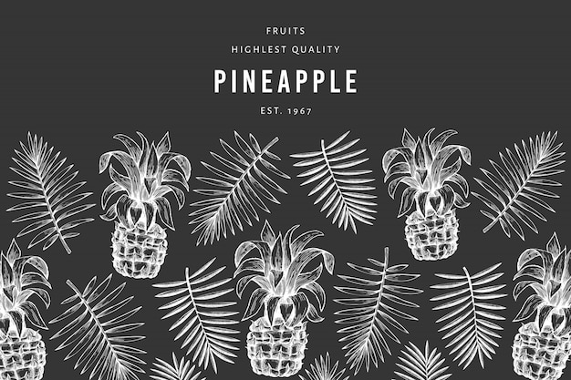 Modèle de conception d'ananas et de feuilles tropicales. bannière de fruits ananas style gravé. couverture botanique rétro.