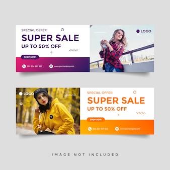 Modèle de conception d'annonce de bannière de couverture de vente de mode