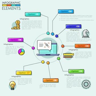 Modèle de conception aperçu entreprise infographie dans le style de ligne mince