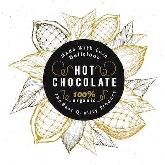 Modèle de conception d'arbre de fève de cacao. fond de fèves de cacao au chocolat.