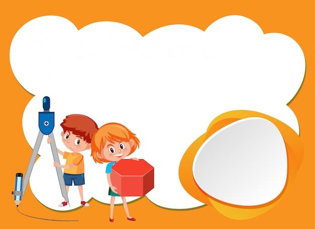 Modèle de conception d'arrière-plan avec deux enfants heureux