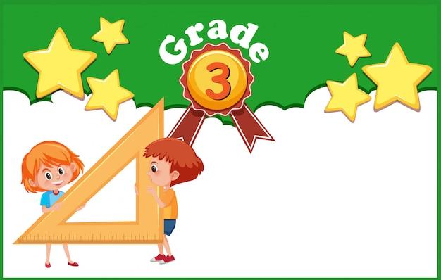 Modèle de conception d'arrière-plan avec les enfants et la règle