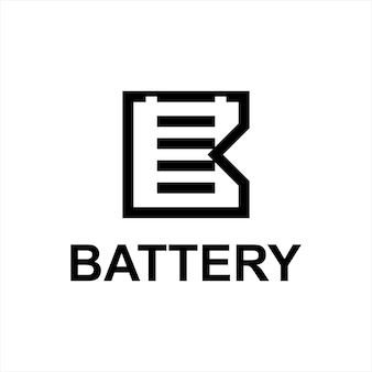 Modèle de conception d'art de ligne simple de logo de batterie