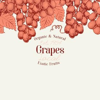Modèle de conception de baies de raisin. illustration de fruits vecteur dessiné à la main. fond botanique rétro style gravé.