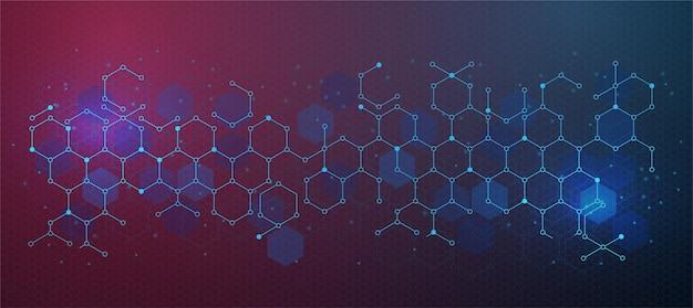 Modèle de conception de bannière abstrait fond bleu clair avec des formes géométriques et un motif d'hexagones d'éclairage. avec une illustration vectorielle à petit point pour la conception technologique ou scientifique