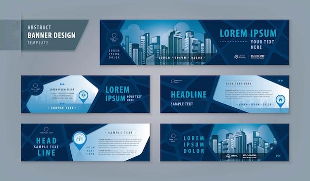 Modèle de conception de bannière abstraite, bannière web d'en-tête horizontal. en-tête de couverture géométrique pour site web.