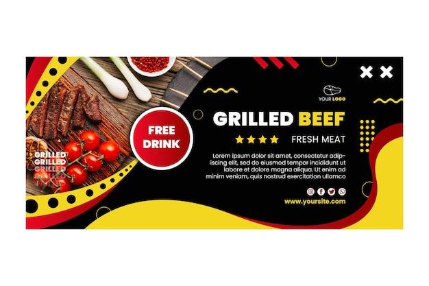 Modèle de conception de bannière barbecue avec promotion de boissons gratuites