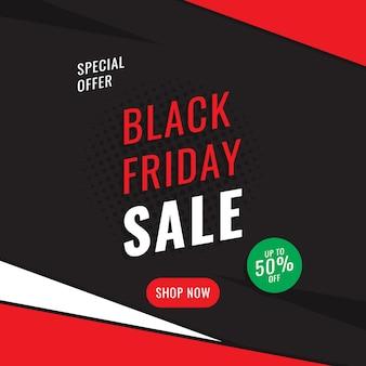 Modèle de conception de bannière carrée «vente vendredi noir».