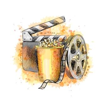Modèle de conception de bannière de concept cinématographe avec pop-corn, bobine de film, bande de film