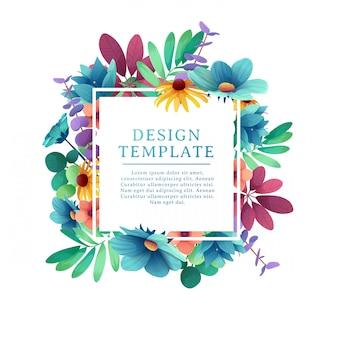 Modèle de conception de bannière avec décoration florale. le cadre carré au décor de fleurs, feuilles, brindilles. invitation avec place pour le texte sur un bouquet d'été de fond. .