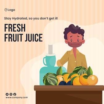 Modèle de conception de bannière d'été hydraté de jus de fruits frais