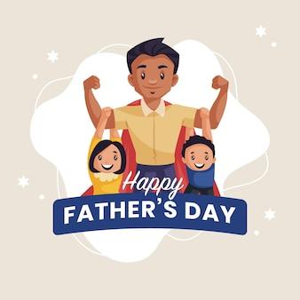 Modèle de conception de bannière de fête des pères heureux