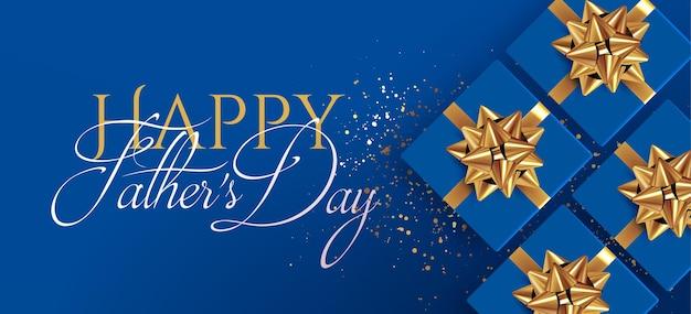 Modèle de conception de bannière ou flyer fête des pères avec des coffrets cadeaux bleus réalistes vue de dessus avec des arcs dorés sur fond bleu avec composition typographique happy fathers day illustration vectorielle