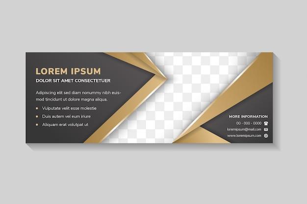 Le modèle de conception de bannière horizontale abstraite utilise un style de coupe de papier avec une forme de flèche pour l'espace photo combinaison de couleurs floues dégradées noir et or sur les éléments fond de luxe vide