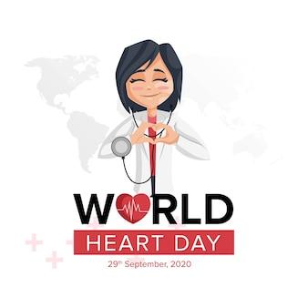 Modèle de conception de bannière de la journée mondiale du cœur avec une femme médecin
