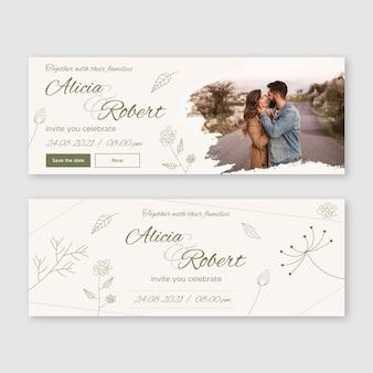 Modèle de conception de bannière de mariage