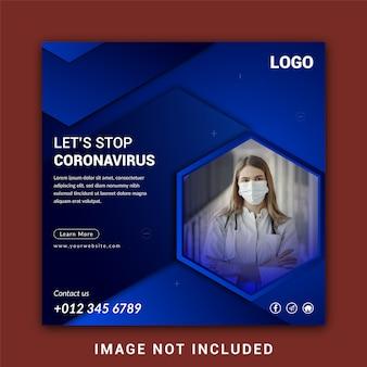 Modèle de conception de bannière de médias sociaux corona virus