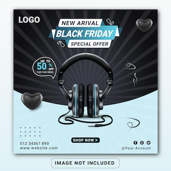 Modèle de conception de bannière de médias sociaux de produit de marque de casque noir vendredi ou flyer carré