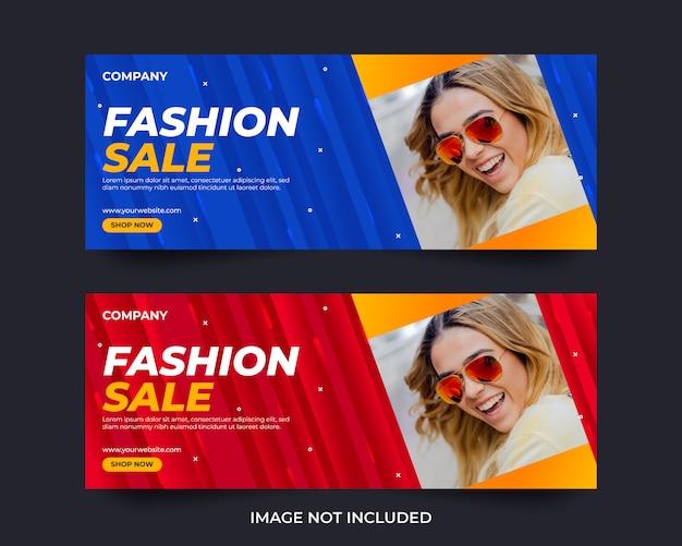 Modèle de conception de bannière de médias sociaux de vente de mode