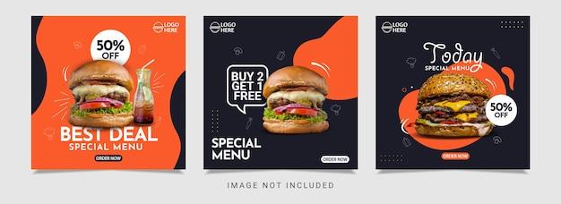 Modèle de conception de bannière de menu hamburger