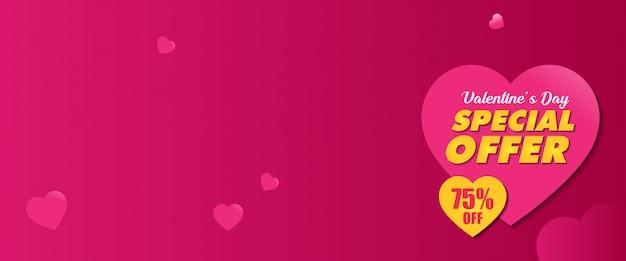 Modèle de conception de bannière promotionnelle offre spéciale valentine