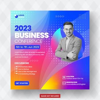 Modèle de conception de bannière de publication de médias sociaux de réunion de conférence d'affaires