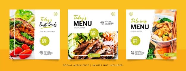 Modèle De Conception De Bannière De Publication Et De Promotion Sur Les Réseaux Sociaux Alimentaires Vecteur Premium
