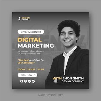 Modèle de conception de bannière de publication de webinaire en direct sur les médias sociaux de marketing numérique